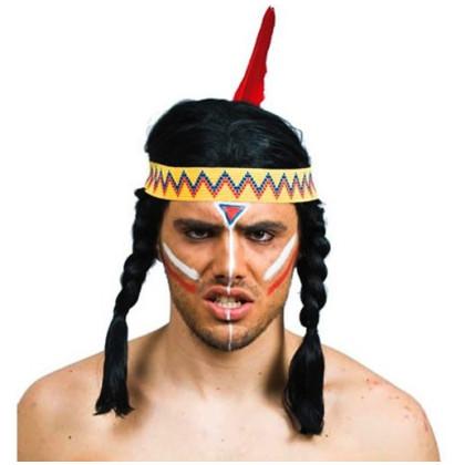 Indianer mit Zöpfen und Stirnband