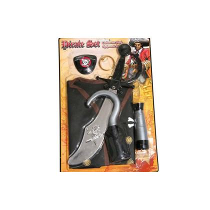 Piratenset für Kinder mit Weste, Schwert, Augenklappe, Hakenhand, Fernrohr