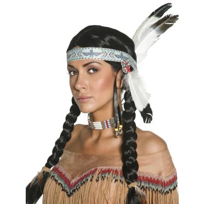 ndianerin Perücke und Stirnband