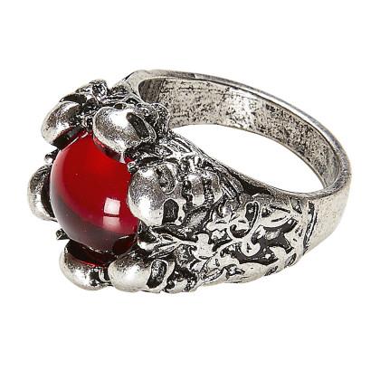Piraten Ring mit rotem Stein