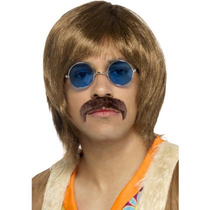 60er Frisur Herren mit Oberlippenbart und Brille