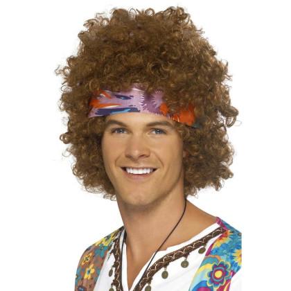 Foto junger Mann mit 68er Wuscherkopf Frisur und Stirnband