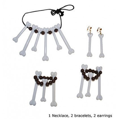 Knochen Set Ohrringe, Halskette, Armband