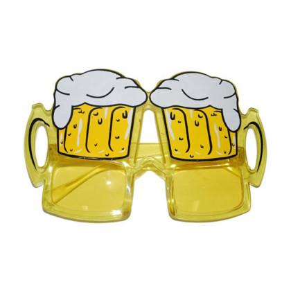 gelbe Brille in Form von Bierkrügen für lustige Verkleidungen