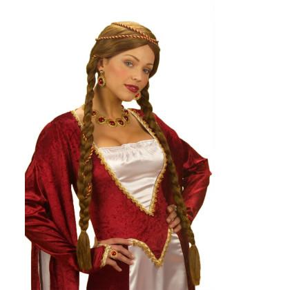 Mittelalter  Zopfperücke Damen kastanienbraun