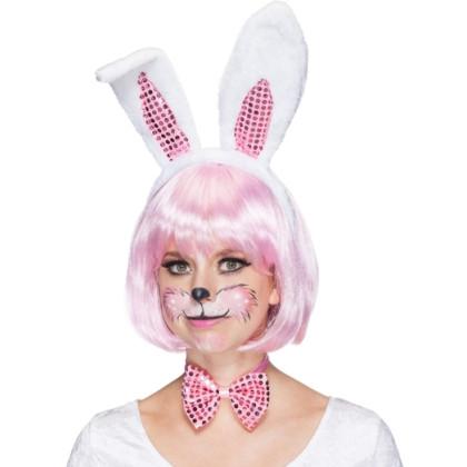 Haarreif Bunny Set mit weiss - rosa Hasenohren und Fliege