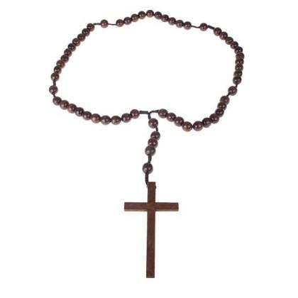 Holzkette Bußekette extra lang mit Kreuz