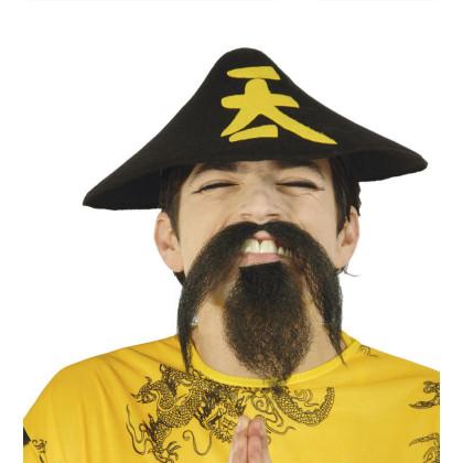 Zweiteiliger Bart, selbstklebend für Chinesen, Asiaten, Shaolin