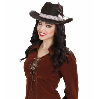 Cowboy-Hut Damen schwarz mit Feder