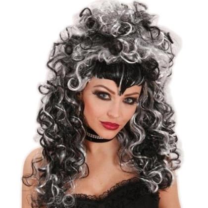 Foto Frau mit von Perücke für Hexen, Vampire schwarz, weise Locken