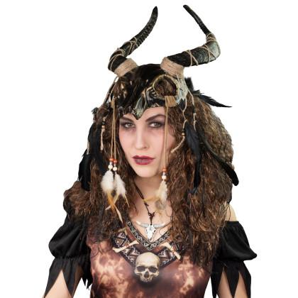 Voodoo Kopfschmuck mit Hörnern