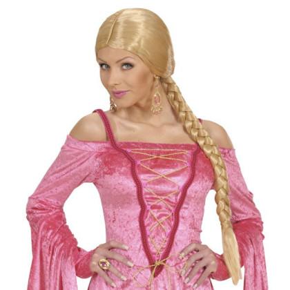 Faschings Perücke Damen blond mit langem Zopf geflochten. Zopf Blond