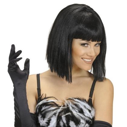 Faschingskperücke Glamour Diva Damen halblang schwarz Gala Frisur