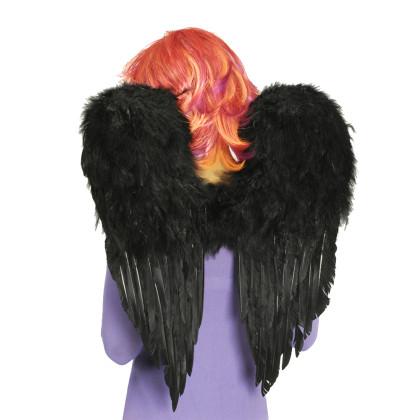 Federflügel schwarz mit Federn 50 x 60cm