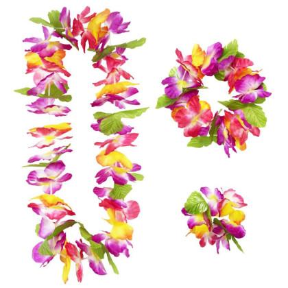3 Teiliges Hawaii Beach Party Set. Kranz, Krone und Armbänder