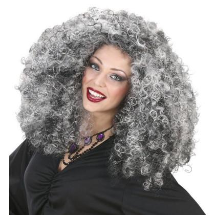 Hübsche Hexe mit Perücke in grau schwarz