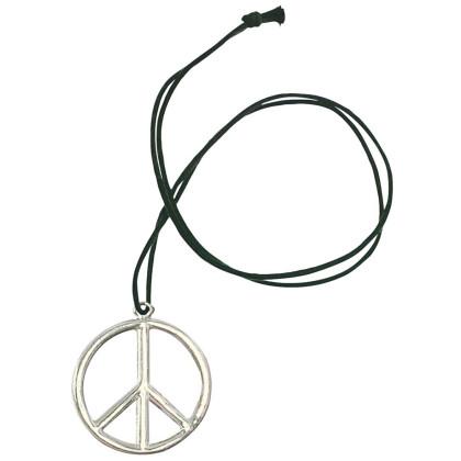 Hippieanhänger silber am schwarzen Band.