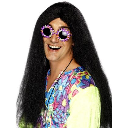 Lange schwarze Haare Frisur Perücke Herren