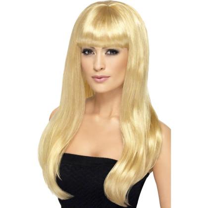 Frau mit hochwertiger blonder Perücke, lange Haarschnitt mit Pony