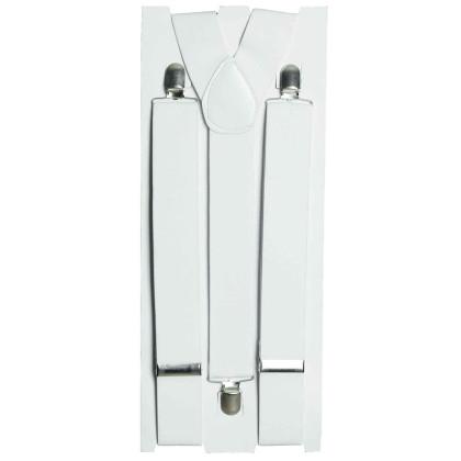 Hosenträger verstellbar in weiß mit metall Clips