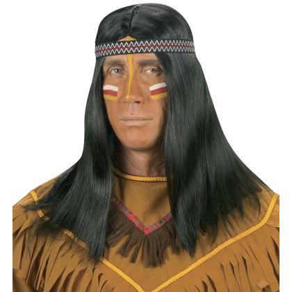 Indian Perücke lange schwarze Haare