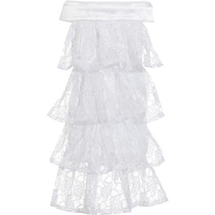Jabot für Kostüm in weiß mit Spitzenstoff
