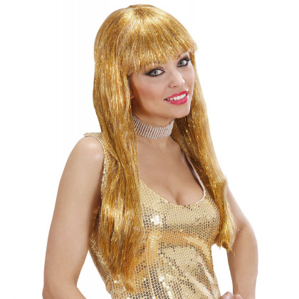 Langhaar Perücke mit Pony gold