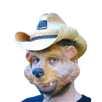 Partymaske 100% Naturlatex mit Brummbär Gesicht