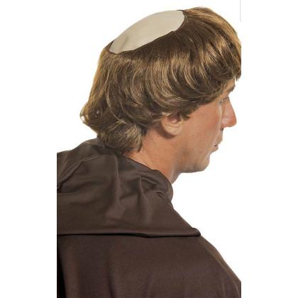 Mann mit Perücke Mönchs Tonsur