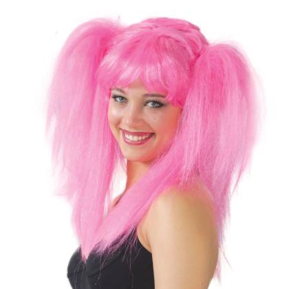 Karnevalsperücke Mädchen mit rosa Zöpfen - pinke Zopfperücke