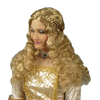 Frisur-Perücke blond Mittelalter, historisch mit Zöpfen