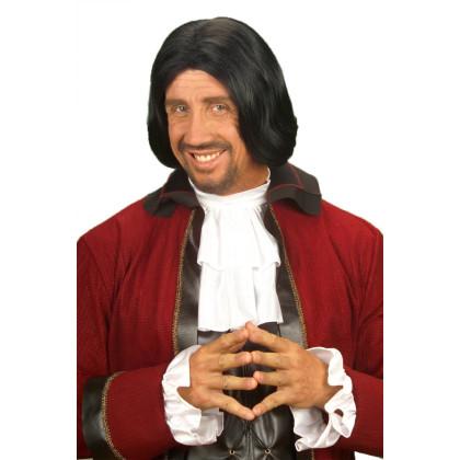 Mann mit Musketier Perücke und historischer roten Jacke