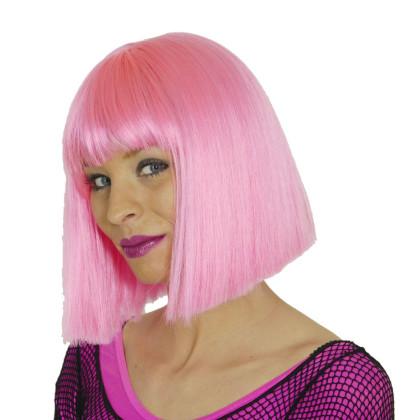 Damenperücke Rosa mit Pagenschnitt und Pony in rosa