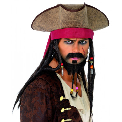 Piaratenhut in Lederoptik mit Dreadlocks Perücke a la Jack Sparrow