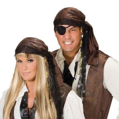 Piraten Kopftuch in Leder Look Optik braun