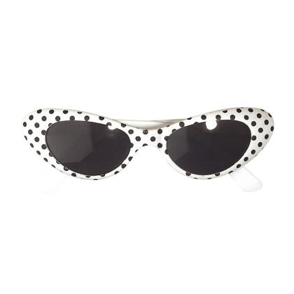 Brille weiß mit Punkte schwarz