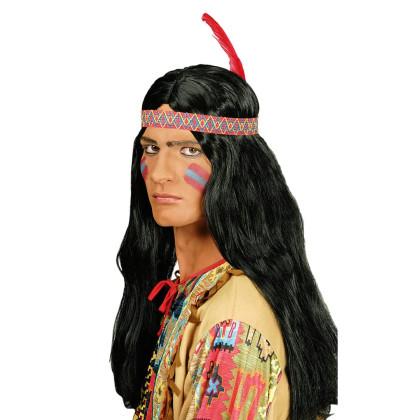 Winnetou Perücke lang schwarz