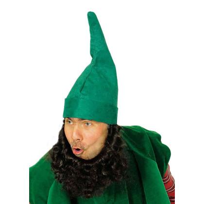 Mann mit Zwergenmütze grün mit Bart