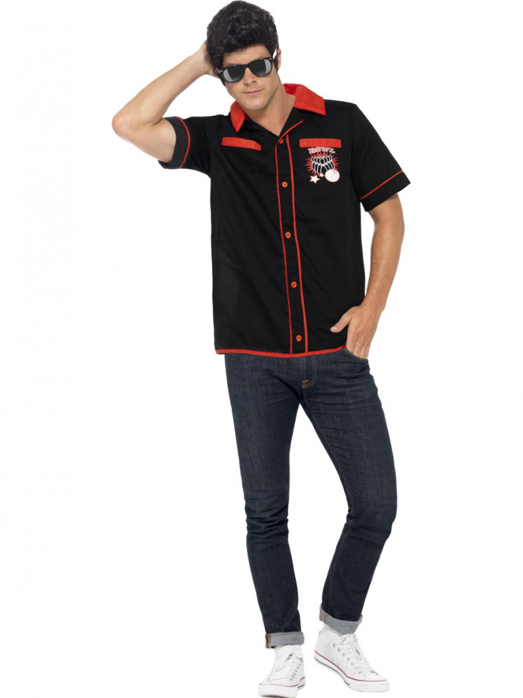 50er jahre look bowling shirt im us style f r herren. Black Bedroom Furniture Sets. Home Design Ideas