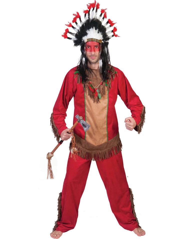 ausgefallenes indianer kost m red hawk in rot f r herren. Black Bedroom Furniture Sets. Home Design Ideas
