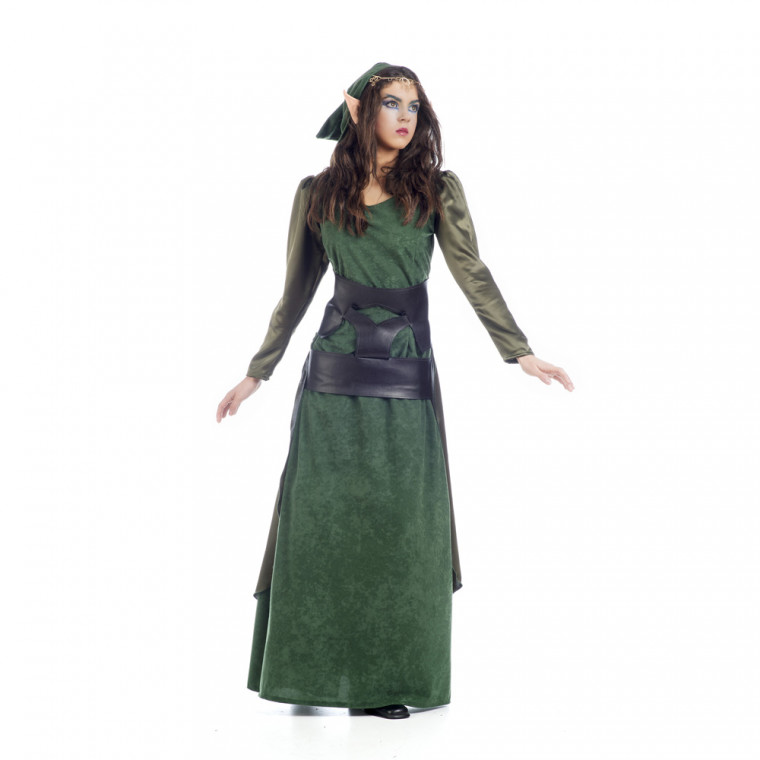 Hochwertiges Elfen Kostüm Für Damen In Grün Und Dunkelgrün