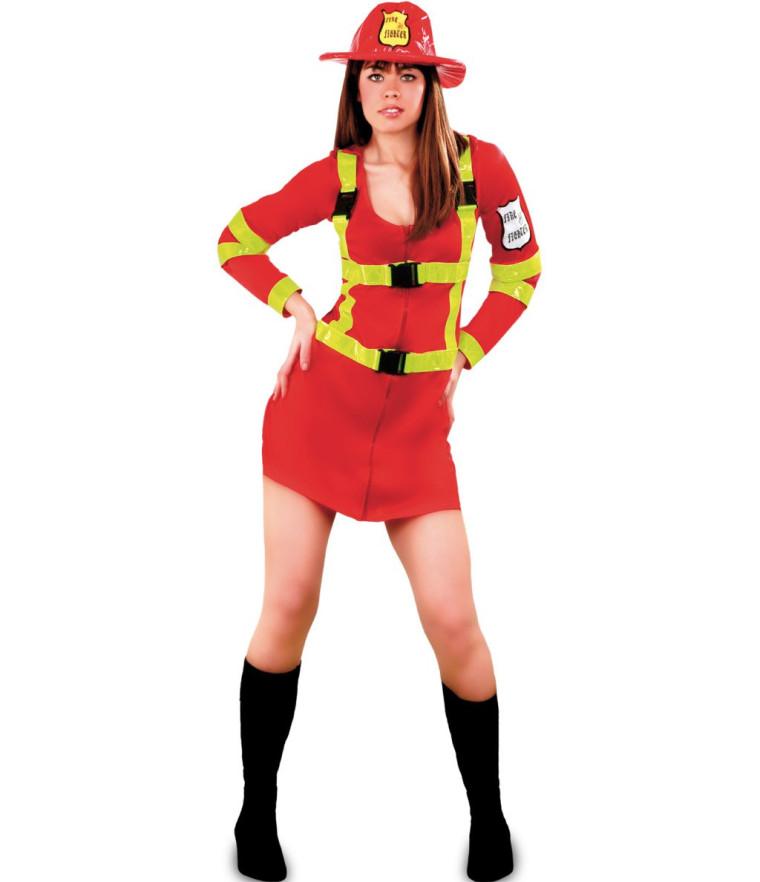 Kostüm Feuerwehrfrau in rot Gr. 40/42
