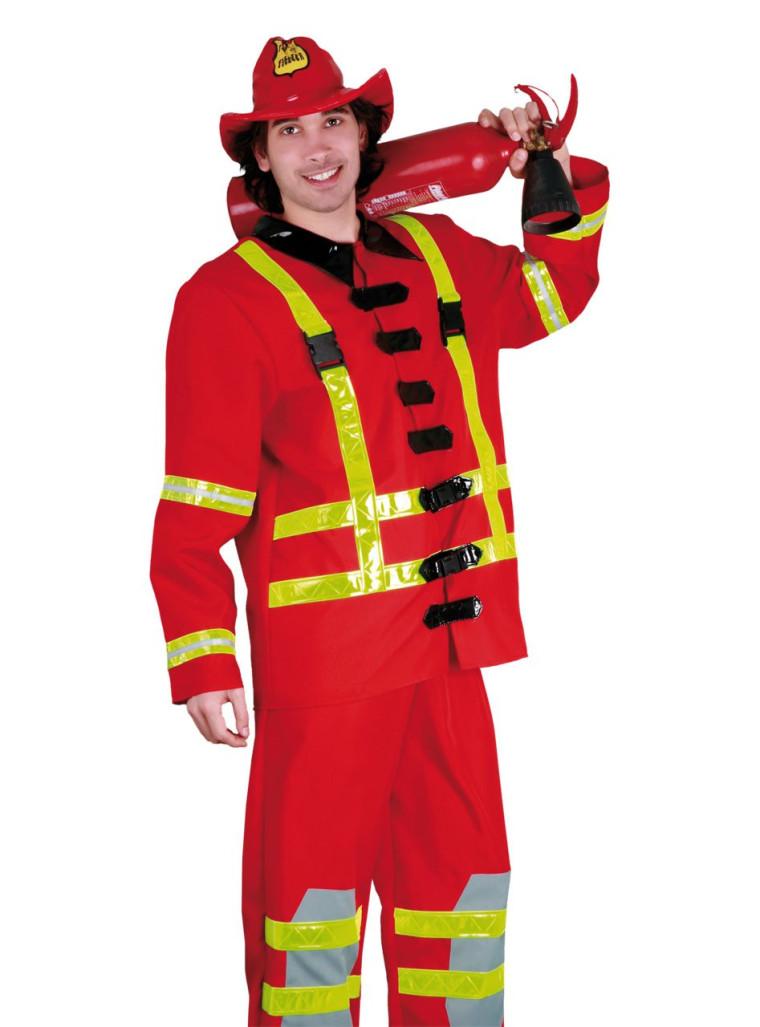 Feuerwehrmann Kostüm rot bis XXL