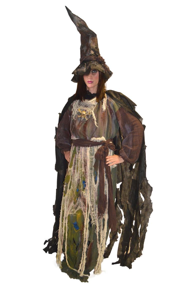 a975da3556 Lumpenkostüm Hexe mit Hut in schwarz und grauen Farben