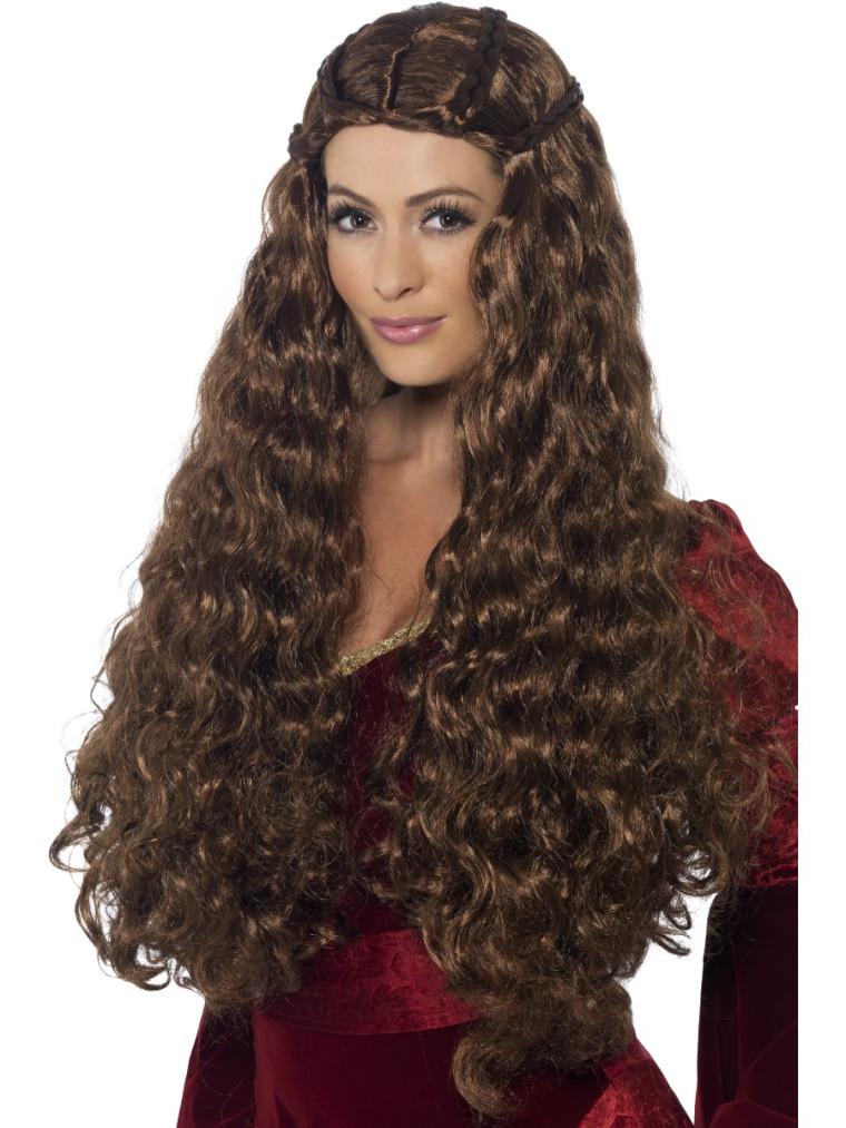 Mittelalter Frisur Perücke Mit Gewellten Braunen Langen Haar