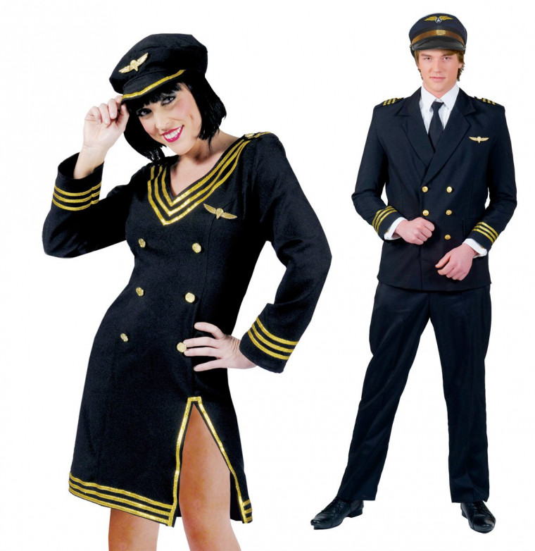 piloten paarkost m uniform als pilot und pilotin in dunkelblau. Black Bedroom Furniture Sets. Home Design Ideas