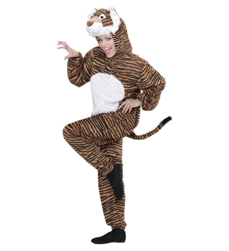 Tiger Kostum Fur Damen Erwachsene Als Plusch Overall