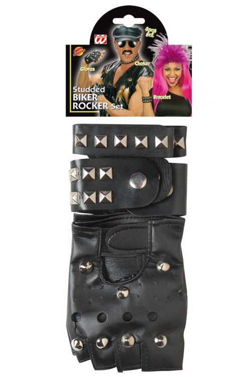 Rocker Und Punker Set Nieten Halsband Handschuhe Und Armband