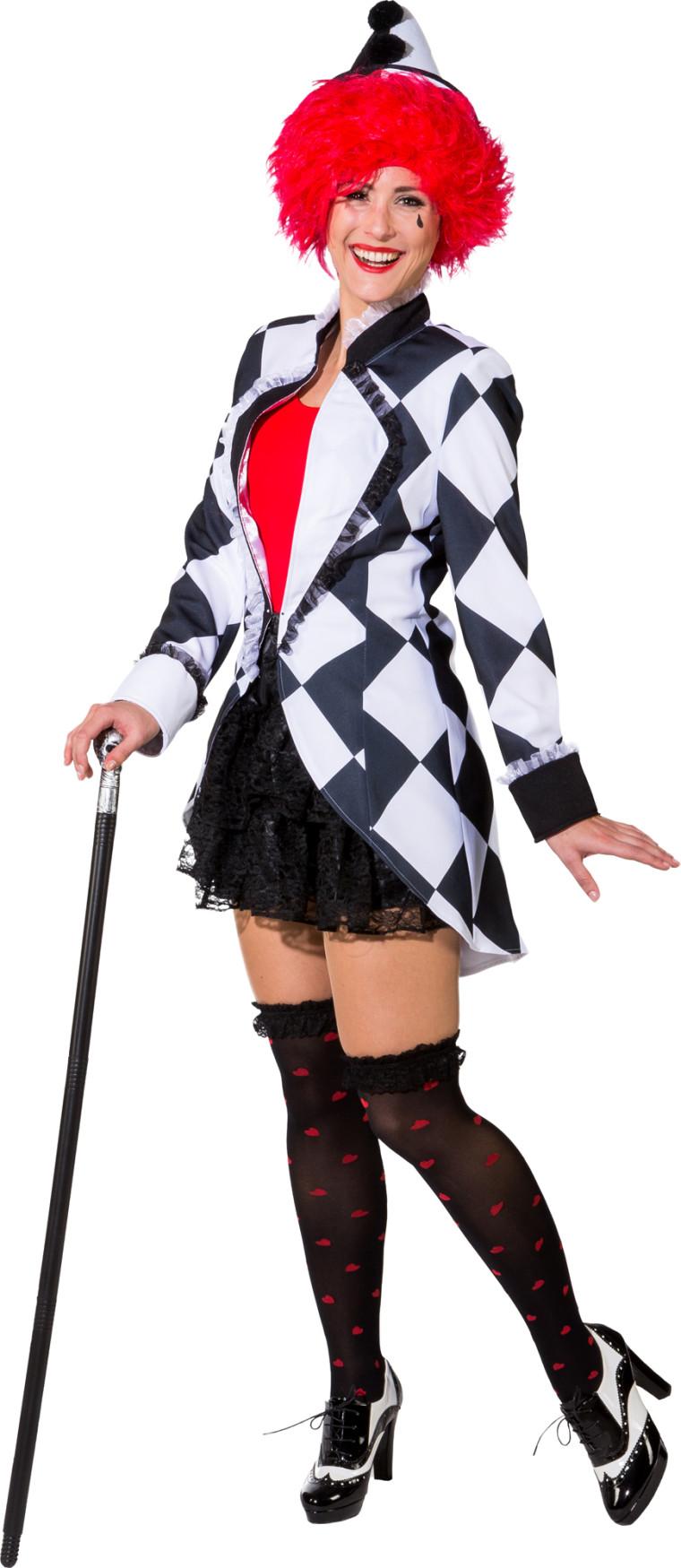 Pierrot Jacke Fur Damen Schwarz Weiss Fur Karneval