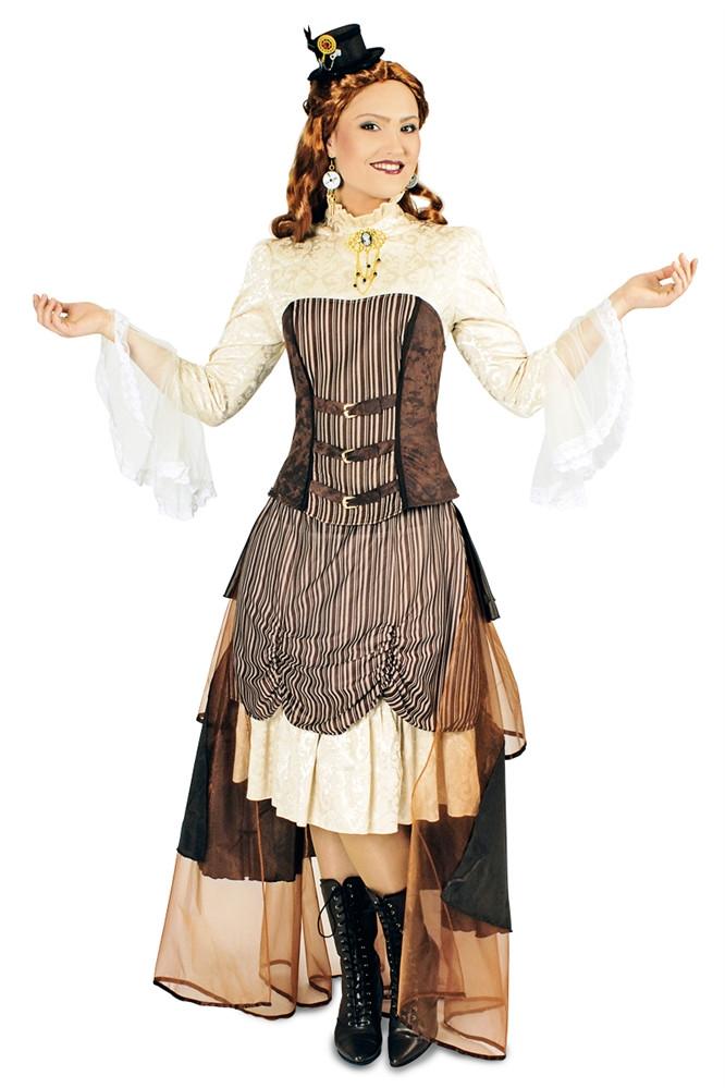 damen kostum steampunk in braun tonen